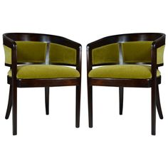 Pair of Chartreuse Mohair Armchairs by Edward Wormley | From a unique collection of antique and modern armchairs at https://www.1stdibs.com/furniture/seating/armchairs/