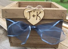 Perfect for the programs?!   Rustic Wedding Wooden Barnwood Box Planter Centerpiece Flowers Personalized Initials