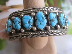 Vintage Sterling Navajo Cuff Bracelet, Native American Bracelet
