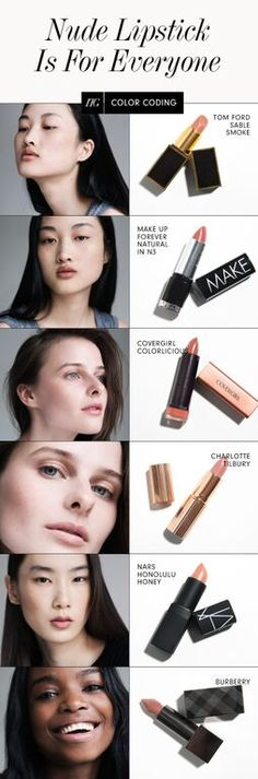 Nude Lipsticks For Every Skin Tone You wouldn't believe the number of personal revelations you can have when presented with a bin full of lip color and a whole bunch of models to put them on Beautiful Lips, Gorgeous Makeup, Love Makeup, Romantic Makeup, Clean Makeup, Makeup Stuff, Lipstick Guide, Nude Lipstick, Diy Acrylic Nails