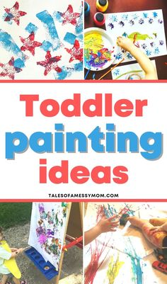 4 toddler painting ideas. Fun and easy painting ideas for 1 year olds, 2 year olds, and 3 year olds to do at home. Kids Painting Activities, Preschool Learning Activities, Indoor Activities For Kids, Infant Activities, Painting For Kids, Toddler Playroom, Toddler Chores, Toddler Discipline, Diy For Kids