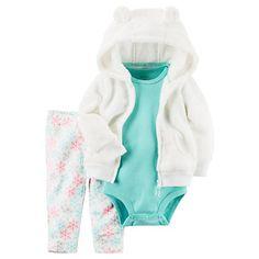Baby Girl Carter's Fleece Jacket, Bodysuit & Snowflake Pants Set