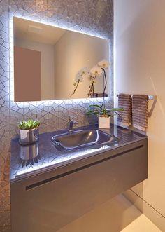 Bathroom furniture and kitchen furniture by Rifra Backlit Mirror, Led Mirror, Bathroom Furniture, Bathroom Interior, Modern Sink, Sink Design, Bathroom Design Small, Living Room Designs, Bathroom Lighting