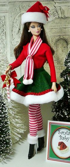 252 Baby Barbie, Barbie And Ken, Barbie Dress, Barbie Clothes, Barbies Dolls, Barbie Outfits, Christmas Barbie, Christmas Fashion, Barbie World