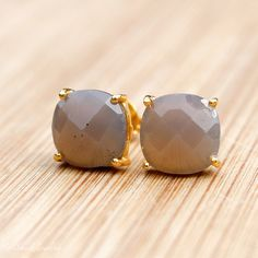 Gold Grey Chalcedony Stud Earrings - Cushion Cut Stud Earrings - Prong Set Studs