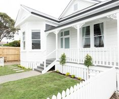 Take a final tour through The Block NZ villas - Exterior Design, Front Stairs, Weatherboard House, House Paint Exterior, House Painting, Building A House, Exterior House Colors, Bungalow Exterior, Selling House