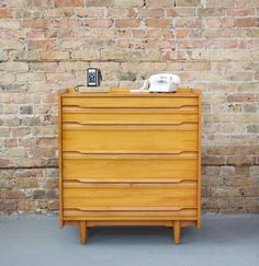 Mid Century Solid Maple Petite Tall Boy by departmentChicago, $395.00
