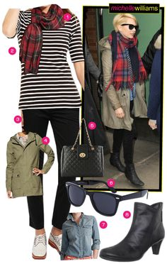 New Blog Post: Michelle Williams in #stripes & plaid & how to get her look: http://richesforrags.blogspot.com/2013/03/celebrity-style-michelle-williams.html
