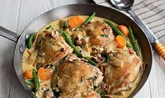 Creamy mustard chicken with winter veg. Photograph: Susan Bell – 10 budget busti… Creamy mustard chicken with winter veg. Photograph: Susan Bell – 10 budget busting recipes by A Girl Called Jack Monroe Cooking For A Crowd, Cooking On A Budget, Easy Cooking, Cheap Meals To Make, Cheap Dinners, Veg Recipes, Cooking Recipes, Healthy Recipes, Healthy Foods
