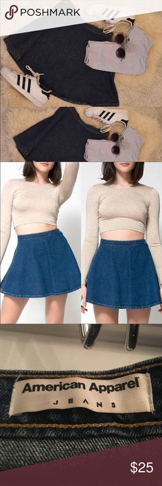 American Apparel Denim Circle Skirt •First and third picture mine •Second isn't my picture  •Denim (100% Cotton) A sleek circle/skater skirt with a zipper and button closure that can be worn in the back or to the side. (Barely worn) American Apparel Skirts Circle & Skater