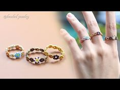 Beaded Rings, Beaded Jewelry, Beaded Bracelets, Handmade Beads, Beading Tutorials, Bead Art, Bead Weaving, Jewelry Crafts, Bracelets