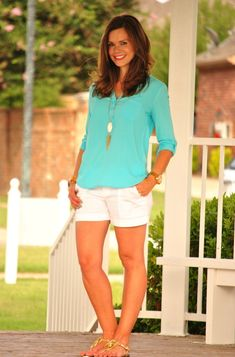 Aqua and white summer outfit, perfect for beach vacation!  http://getyourprettyon.com/i-feel-pretty-caribbean/