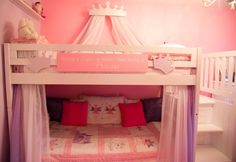 Fairy Princess Bunk Beds Girls Room, My girls had to share a room before the arrival of their baby brothers, so both girls got this one, small room!  Its crowded but pretty and done on a super small budget!, Added curtains to the lower bunk by installing a cheap curtain rod and some sheers., Girls Rooms Design