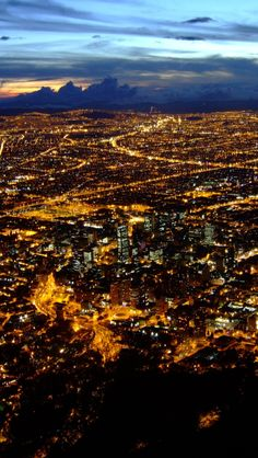 Bogota At Night, Colombia. Re-pinned by http://www.Basic-Spanish-Words.com/