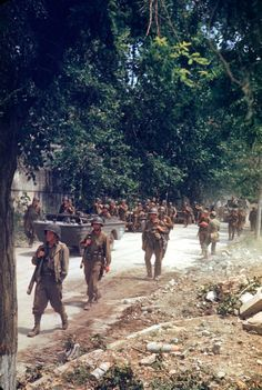 World War II in Color: The Italian Campaign and the Road to Rome   LIFE.com. American soldiers march up the Apian Way in their drive onto Rome.