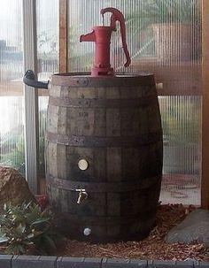 Aunt Molly's Whiskey Barrel Rain Barrel C/Red by AuntMollysBarrels