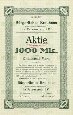 HWPH AG - Historische Wertpapiere - Bürgerliches Brauhaus Aktiengesellschaft Falkenstein i. V. Falkenstein i. V., 27.01.1923, Aktie über 1.000 Mark, später auf 100 RM umgestellt, #312