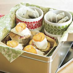 Bake several batches of Cranberry-Orange Tea Bread Muffins or your favorite muffin or quick bread. Wrap them up with tea bags and mugs for a complete tea-time present. For added flair, use festive muffin wrappers.