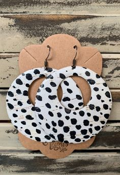 Circle Leopard Black and White Cutout Leather Earrings Handmade Earrings Genuine Wooden Earrings, Diy Earrings, Leather Earrings, Leather Jewelry, Teardrop Earrings, Earrings Handmade, Diy Jewelry, Jewelry Design, Jewelry Making