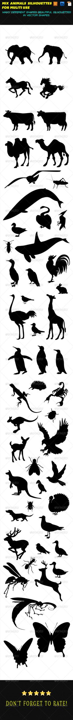 Beautiful many shapes of mix animal Silhouettes for muliti use.  this folder contain 1 Ai, 1 EPS and 1 PSD with high res 300 dpi f