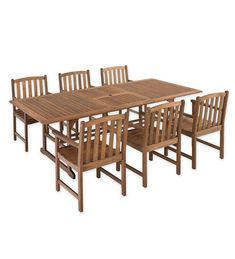 Plow & Hearth Lancaster Outdoor Furniture Collection Eucalyptus Wood Extension Dining Table and 6 Chairs Set - Great Affordable Backyard ideas Wooden Outdoor Table, Wooden Garden Table, Outdoor Wood Furniture, Garden Table And Chairs, Outdoor Dining Set, Outdoor Living, Outdoor Decor, Extension Dining Table, Lancaster