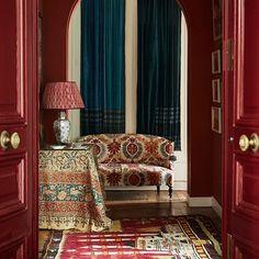 Milieu Magazine interior cover of Fall 2016 issue. Carolina Irving in Paris. Red Interior Design, Bohemian Interior, Interior Trim, Bohemian Decor, Interior Decorating, Interior Colors, Classic Interior, Room Interior, Boho Chic