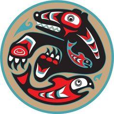Illustration about Bear Catching Salmon - Native American Style Vector. Illustration of american, culture, naive - 22888691 Native American Patterns, Native American Images, Native American Symbols, Native American History, Native American Fashion, American Indians, Arte Inuit, Arte Haida, Haida Art