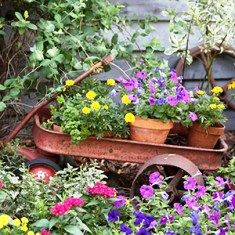 upcycle an old rusty wagon filled with flower pots, great idea!