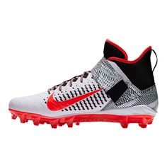 6c3ad4f64cc5 Nike Men's Alpha Menace Pro 2 Mid Cut Football Cleats - White/Red/Black