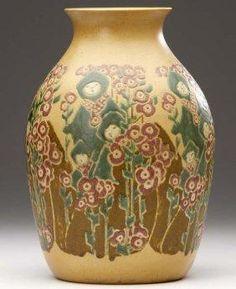 Elizabeth Gray Overbeck & Mary Frances Overbeck, 'Vase (children & red hollyhock blossoms)