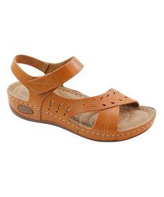 Loving this Tan Crisscross Comfort Sandal on #zulily! #zulilyfinds