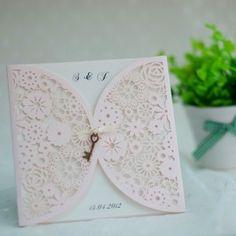 elegant blush pink laser cut wedding invitations with vintage keys EWWS046