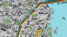 I was commissioned by Evermade.com to create a map of San Francisco that showcased it in all it's glory.   I spent months researching the city, including flying…