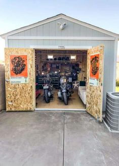 A true man cave right here. When the owner ran out of space in the garage for bo. - A true man cave right here. When the owner ran out of space in the garage for both parking his cars - Man Cave Garage, Man Cave Shed, Man Shed, Garage Shed, Car Garage, Motorcycle Workshop, Motorcycle Shop, Motorcycle Garage, Motorcycle Shed Ideas