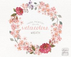 Watercolor wreath: painted floral wreath clipart / Wedding