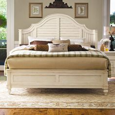 Home Queen Steel Magnolia Bed With Panel Headboard And Low Footboard By…