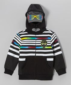 Take a look at this Black & Gray Stripe Mesh Zip-Up Hoodie - Boys by Longstreet on #zulily today!