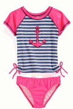 **Hot Pink Anchor Rash Guard Suit - Bushel and a Peck Kids - Boutique-style clothing for infants, girls and boys