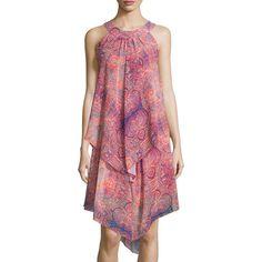 Neiman Marcus Sleeveless Layered Chiffon Shift Dress ($53) ❤ liked on Polyvore featuring dresses, red, layered dress, print shift dress, chiffon dress, patterned shift dress and shift dress