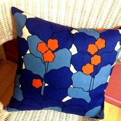 Vintage Fabric Cushions 1960s Orange Berries by 100vintagefabric, $40.00