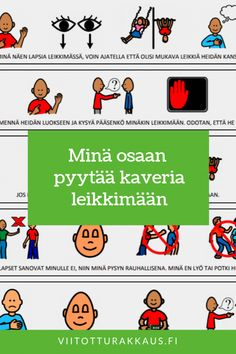 Minä osaan pyytää kaveria leikkimään Finnish Language, Pre School, Teaching, Feelings, Comics, Kids, Toddlers, Children, Children