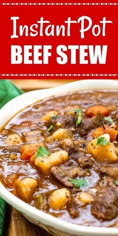 This Instant Pot Beef Stew (With A Secret Ingredient) is the BEST beef stew with fork-tender beef, potatoes, and vegetables in a rich, savory gravy that is ready in an hour. via pot recipes Instant Pot Beef Stew (With A Secret Ingredient) - Flavor Mosaic Crock Pot Recipes, Beef Recipes, Healthy Recipes, Easy Recipes, Hamburger Recipes, Meatball Recipes, Shrimp Recipes, Recipes With Beef Stew Meat, Casserole Recipes