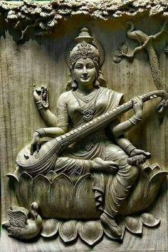 Saraswati - Goddess of Knowledge Clay Wall Art, Mural Wall Art, Clay Art, Saraswati Statue, Saraswati Goddess, Durga, Asian Sculptures, Indian Goddess, Tanjore Painting