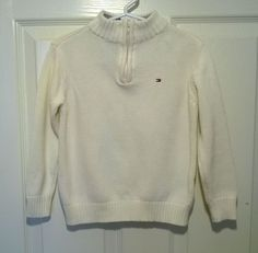 Tommy Hilfiger Toddler Boys Zip Neck Sweater -White- Size 3T #TommyHilfiger #Pullover #DressyHoliday #fall
