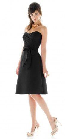 Black Strapless Sweetheart Pleated Short Bridesmaid Dress G134