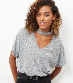 Grey Fine Knit Choker Cut Out T-Shirt  | New Look
