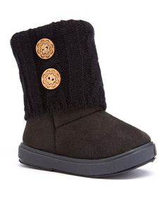 Look at this #zulilyfind! Black Ribbed Button Boot by Ositos Shoes #zulilyfinds