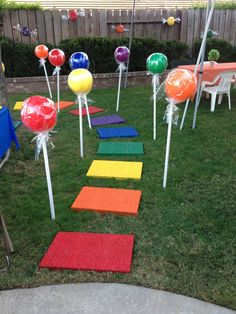 candyland decorations - done Candy Theme Birthday Party, Candy Land Theme, Rainbow Birthday Party, Carnival Birthday Parties, Candy Party, 5th Birthday, Candy Crush Party, Lollipop Birthday, Birthday Ideas