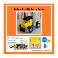 LEGO® Party Favor  Yellow Big Rig by KidsPartyKits on Etsy