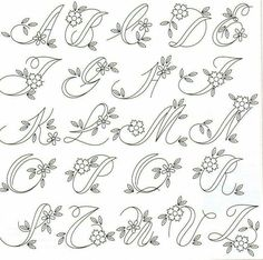 Embroidery Alphabet, Embroidery Monogram, Hand Embroidery Patterns, Flower Embroidery, Creative Lettering, Lettering Styles, Lettering Ideas, Fonte Alphabet, Hand Lettering Alphabet